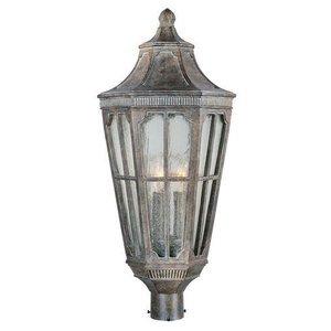 "Maxim Lighting 11"" 3-Light Outdoor Pole/Post Lantern in Sienna with Seedy Glass"