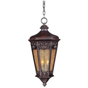 "Maxim Lighting 13 1/2"" 3-Light Outdoor Hanging Lantern in Colonial Umber with Night Shade Glass"
