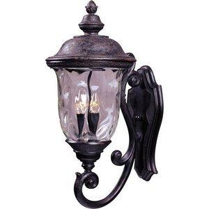 "Maxim Lighting 12 1/2"" 3-Light Outdoor Wall Lantern in Oriental Bronze with Water Glass"