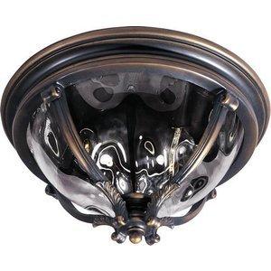 """Maxim Lighting 16"""" 3-Light Outdoor Ceiling Mount in Golden Bronze with Water Glass"""