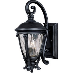 "Maxim Lighting 8 1/2"" 2-Light Outdoor Wall Lantern in Black with Water Glass"
