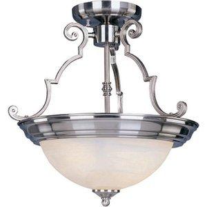 "Maxim Lighting 14 3/4"" 2-Light Semi-Flush Mount in Satin Nickel with Marble Glass"