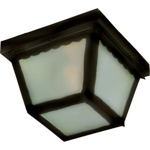 """Maxim Lighting 9 1/2"""" 2-Light Outdoor Ceiling Mount in Black with Frosted Glass"""