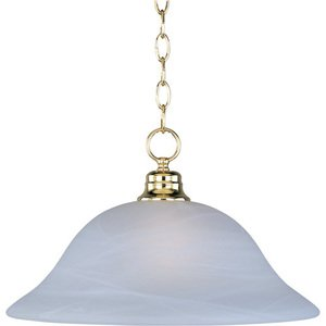 "Maxim Lighting -  16"" 1-Light Pendant in Polished Brass with Marble Glass"