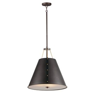 Maxim Lighting 3-Light Pendant in Oil Rubbed Bronze and Antique Brass