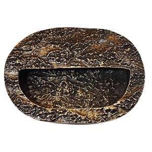 Modern Objects Bark Flush Mount Bin Pull in Antique Brass