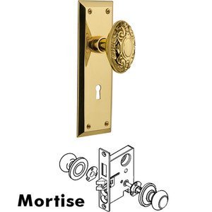 Nostalgic Warehouse Mortise New York Plate with Victorian Knob and Keyhole in Unlacquered Brass
