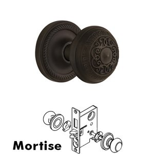 Nostalgic Warehouse - Complete Mortise Lockset - Rope Rosette with Egg & Dart Knob in Oil Rubbed Bronze