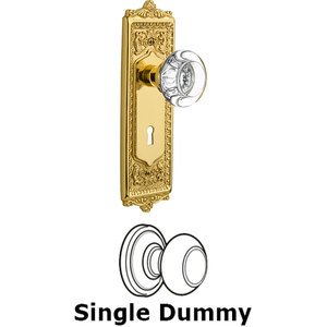 Nostalgic Warehouse - Single Dummy Knob - Egg and Dart Plate with Round Clear Crystal Knob and Keyhole in Unlacquered Brass
