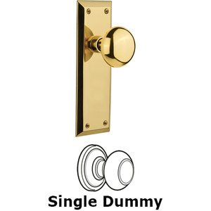 Nostalgic Warehouse - Single Dummy Knob - New York Plate with New York Knob in Unlacquered Brass