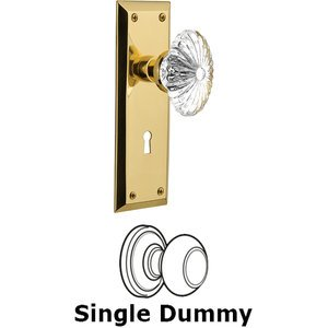 Nostalgic Warehouse - Single Dummy Knob - New York Plate with Oval Fluted Crystal Knob and Keyhole in Unlacquered Brass