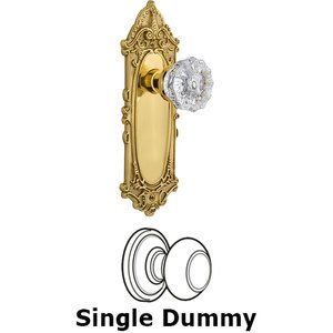 Nostalgic Warehouse - Single Dummy Knob - Victorian Plate with Crystal Knob in Unlacquered Brass