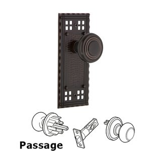 Nostalgic Warehouse - Complete Passage Set - Craftsman Plate with Deco Door Knob in Timeless Bronze