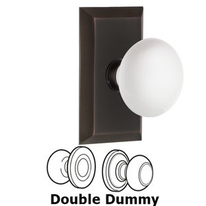 Nostalgic Warehouse - Double Dummy Set - Studio Plate with White Porcelain Door Knob in Timeless Bronze