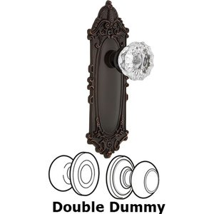 Nostalgic Warehouse - Double Dummy Set - Victorian Plate with Crystal Glass Door Knob in Timeless Bronze