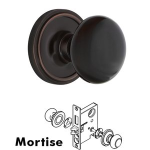 Nostalgic Warehouse Complete Mortise Lockset with Keyhole - Classic Rosette with Black Porcelain Door Knob in Timeless Bronze