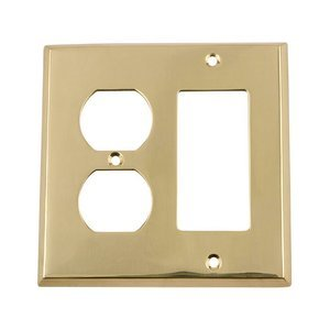 Nostalgic Warehouse - New York - Rocker/Duplex Switchplate in Unlacquered Brass