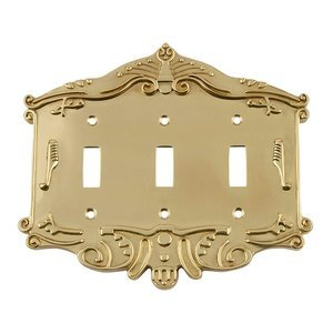 Nostalgic Warehouse - Victorian - Triple Toggle Switchplate in Unlacquered Brass