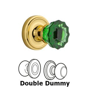 Nostalgic Warehouse - Double Dummy - Classic Rose Crystal Emerald Glass Door Knob in Unlaquered Brass