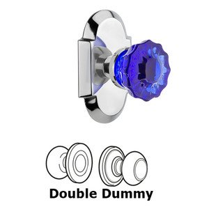 Nostalgic Warehouse - Double Dummy - Cottage Plate Crystal Cobalt Glass Door Knob in Bright Chrome