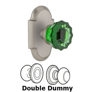 Nostalgic Warehouse - Double Dummy - Cottage Plate Crystal Emerald Glass Door Knob in Satin Nickel