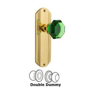 Nostalgic Warehouse Nostalgic Warehouse - Double Dummy - Deco Plate Waldorf Emerald Door Knob in Polished Brass