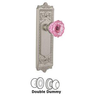 Nostalgic Warehouse Nostalgic Warehouse - Double Dummy - Egg & Dart Plate Crystal Pink Glass Door Knob in Satin Nickel