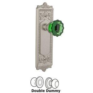 Nostalgic Warehouse Nostalgic Warehouse - Double Dummy - Egg & Dart Plate Crystal Emerald Glass Door Knob in Satin Nickel