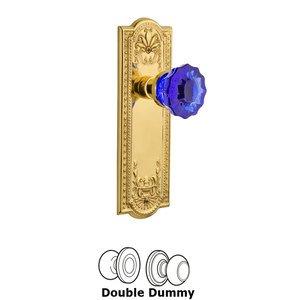 Nostalgic Warehouse Nostalgic Warehouse - Double Dummy - Meadows Plate Crystal Cobalt Glass Door Knob in Polished Brass