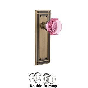 Nostalgic Warehouse Nostalgic Warehouse - Double Dummy - Mission Plate Waldorf Pink Door Knob in Antique Brass