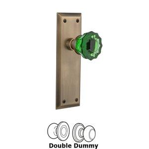 Nostalgic Warehouse Nostalgic Warehouse - Double Dummy - New York Plate Crystal Emerald Glass Door Knob in Antique Brass