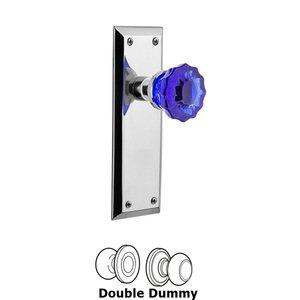 Nostalgic Warehouse Nostalgic Warehouse - Double Dummy - New York Plate Crystal Cobalt Glass Door Knob in Bright Chrome