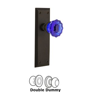 Nostalgic Warehouse Nostalgic Warehouse - Double Dummy - New York Plate Crystal Cobalt Glass Door Knob in Oil-Rubbed Bronze
