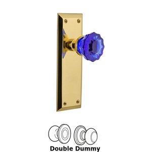 Nostalgic Warehouse Nostalgic Warehouse - Double Dummy - New York Plate Crystal Cobalt Glass Door Knob in Polished Brass