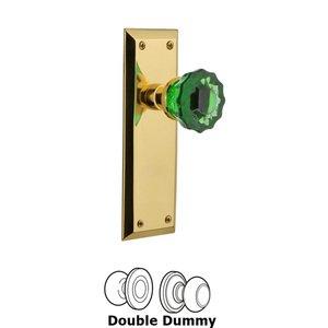 Nostalgic Warehouse Nostalgic Warehouse - Double Dummy - New York Plate Crystal Emerald Glass Door Knob in Polished Brass