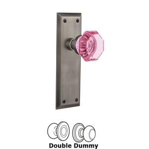 Nostalgic Warehouse Nostalgic Warehouse - Double Dummy - New York Plate Waldorf Pink Door Knob in Antique Pewter