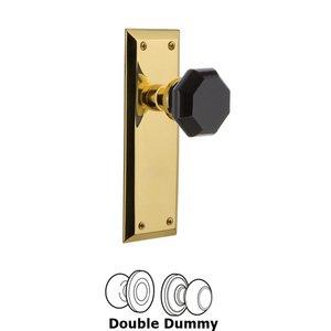 Nostalgic Warehouse Nostalgic Warehouse - Double Dummy - New York Plate Waldorf Black Door Knob in Unlaquered Brass