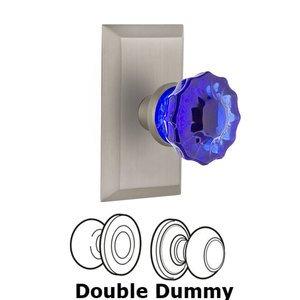 Nostalgic Warehouse Nostalgic Warehouse - Double Dummy - Studio Plate Crystal Cobalt Glass Door Knob in Satin Nickel