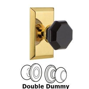 Nostalgic Warehouse Nostalgic Warehouse - Double Dummy - Studio Plate Waldorf Black Door Knob in Polished Brass