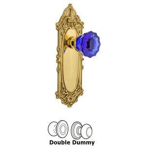 Nostalgic Warehouse Nostalgic Warehouse - Double Dummy - Victorian Plate Crystal Cobalt Glass Door Knob in Polished Brass