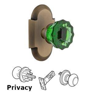 Nostalgic Warehouse Nostalgic Warehouse - Privacy - Cottage Plate Crystal Emerald Glass Door Knob in Antique Brass