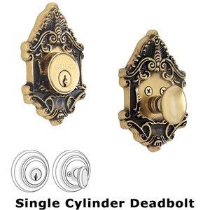 Nostalgic Warehouse Single Deadbolt - Victorian Deadbolt in Antique Brass
