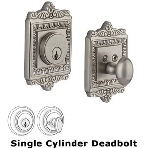 Nostalgic Warehouse - Single Deadbolt - Egg and Dart Deadbolt in Satin Nickel