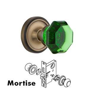 Nostalgic Warehouse Nostalgic Warehouse - Mortise - Classic Rose Waldorf Emerald Door Knob in Antique Brass