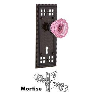 Nostalgic Warehouse Nostalgic Warehouse - Mortise - Craftsman Plate Crystal Pink Glass Door Knob in Timeless Bronze