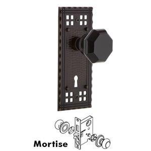 Nostalgic Warehouse Nostalgic Warehouse - Mortise - Craftsman Plate Waldorf Black Door Knob in Timeless Bronze