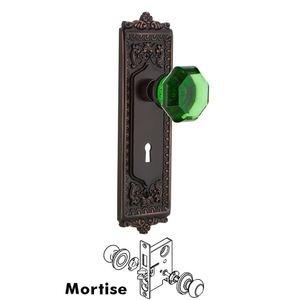 Nostalgic Warehouse Nostalgic Warehouse - Mortise - Egg & Dart Plate Waldorf Emerald Door Knob in Timeless Bronze