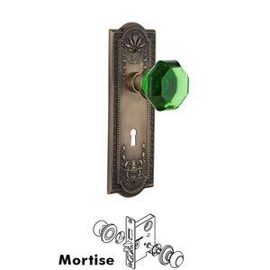 Nostalgic Warehouse Nostalgic Warehouse - Mortise - Meadows Plate Waldorf Emerald Door Knob in Antique Brass