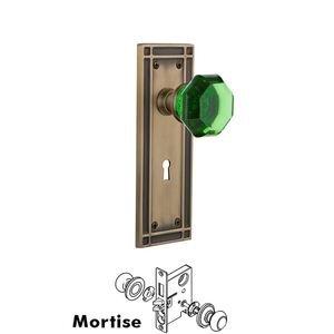 Nostalgic Warehouse Nostalgic Warehouse - Mortise - Mission Plate Waldorf Emerald Door Knob in Antique Brass