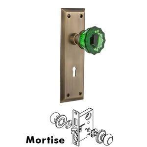 Nostalgic Warehouse Nostalgic Warehouse - Mortise - New York Plate Crystal Emerald Glass Door Knob in Antique Brass